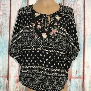 💎 Boho Choc Floral Top Size L Dolman Sleeves